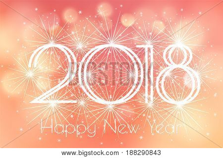 Happy New Year 2018 Card with blue fireworks glowing fire on blurred orange peach background. Poster, greeting card, banner or invitation. Vector illustration EPS 10