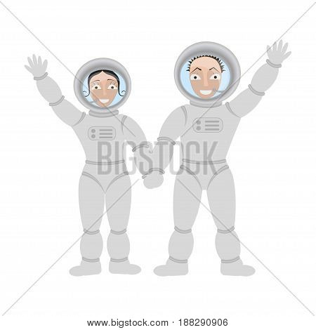 Pair of lovers astronauts in open space. Vector illustration eps 10