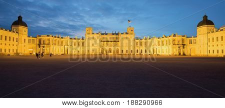 Panorama of the old Great Gatchina Palace in the May twilight. Gatchina, Russia
