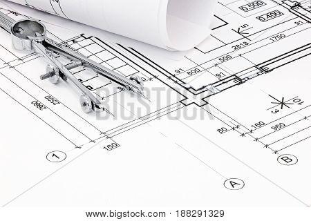 Drawing Compass On House Plan Blueprint Closeup