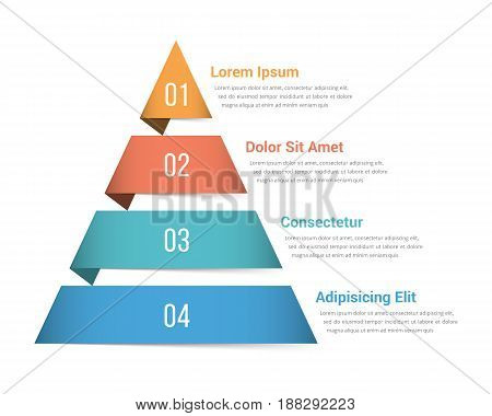 Pyramid infographic template with four elements vector eps10 illustration