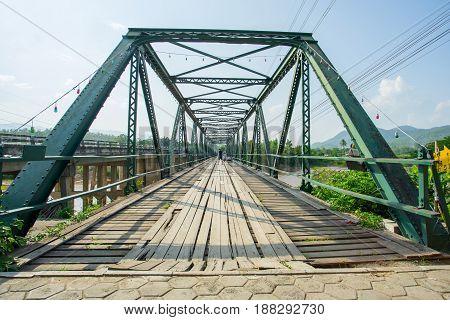 Memorial Bridge in Pai district at Mae Hong Son province, Thailand.