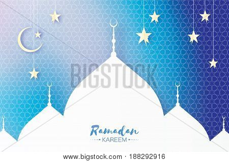 Ramadan Kareem. Arabic Mosque, white stars in paper cut style. Crescent Moon. Holy month of muslim. Symbol of Islam. Origami Greeting card. Blue background. Vector