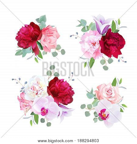 Romantic gift bouquets in  purple, pink, burgundy red and white tones. Peony, alstroemeria lily, carnation, rose, violet bell flower, orchid, eucaliptus. All elements are isolated and editable.