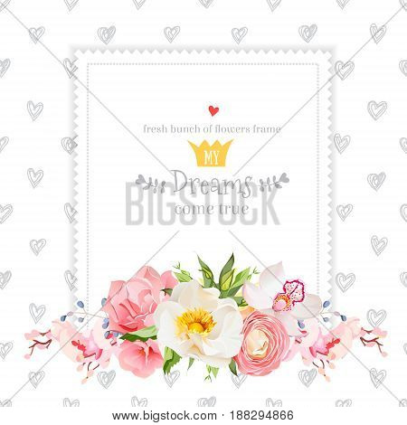 Wild rose, orchid, carnation, ranunculus, hydrangea, blue berries and green leaves vector design square card. Hand drawn hearts backdrop. All elements are isolated and editable