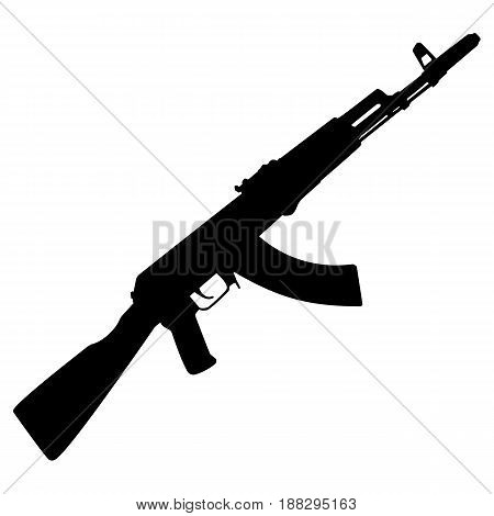 The Kalashnikov rifle vector black and white icon.