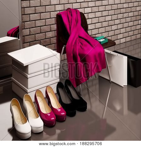 Close-up of the chair with red scarf bag and shopping bags with shoes lying on the floor in front of a mirror. 3D illustration