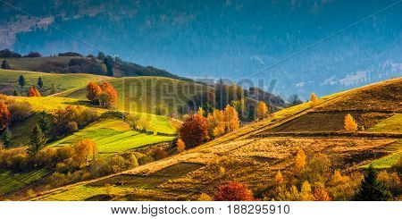 Agricultural Fields On Hills At Sunrise