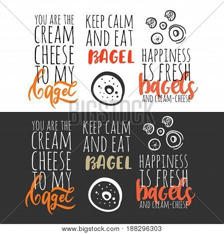 Happiness is fresh bagels and cream cheese. Keep calmm and eat bagel. You are the cream cheese to my bagel.  Bagel logo. Can be used for t-shirt, banner, card and other design projects.