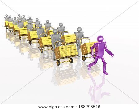 Grey and violet robots with casegoods on white reflective background 3D illustration.