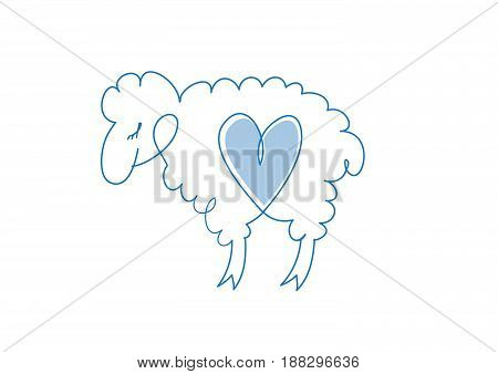 Sheep sketch icon for web mobile and infographic. Hand drawn sheep icon. Sheep icon isolated on white background.