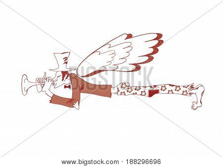 Poor musician with a flute and wings. Original creative vector illustration drawn by hand