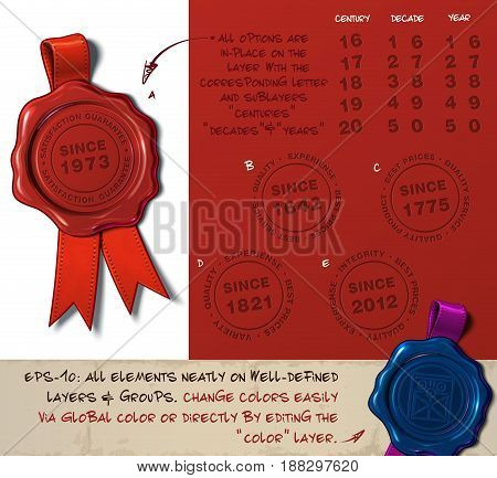 Vector Illustration of a wax seal with a set of stamps regarding Since Year subjects. All design elements neatly on well-defined layers and groups