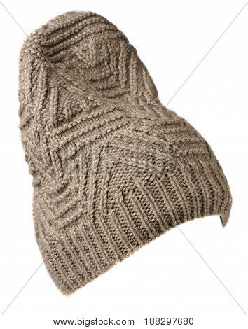 Hat Isolated On White Background .knitted Hat .biege Hat