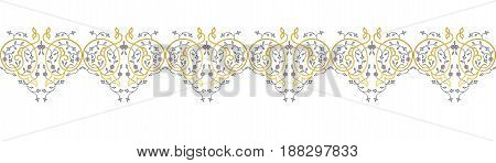 Vector gold ornamental  decorative frame. Elegant ornate  element for design template, place for text. Luxury floral border. Lace decor for birthday and greeting card, wedding invitation, certificate.