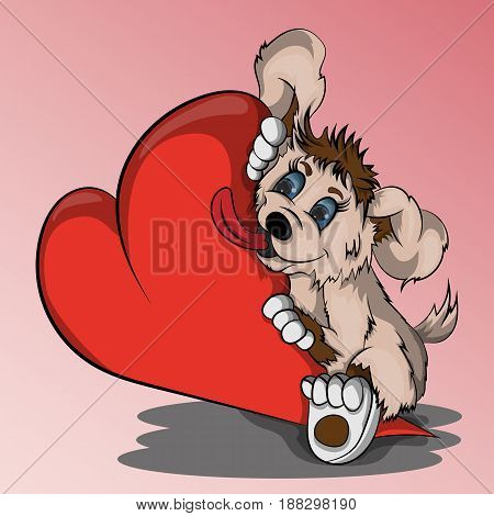 Vector illustration of a small puppy hugging a heart