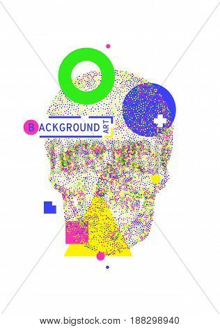 Artistic decorative geometric background with colorful skull for print T-shirt DJ VJ electronic light show