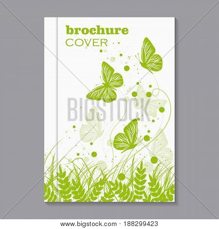 Modern vector template for brochure cover in A4 size. Beautiful natural background with green grass, circles and flying butterflies.