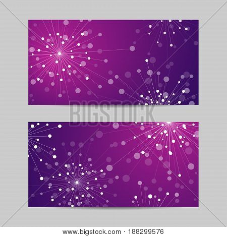 Set of horizontal banners. Abstract geometric background with connected lines and dots in a shape of fireworks. Vector illustration.