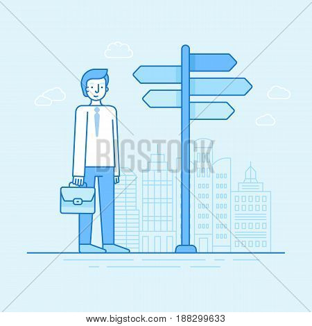 Vector Flat Linear Illustration In Blue Colors - Businessman Choosing New Way And Perspective