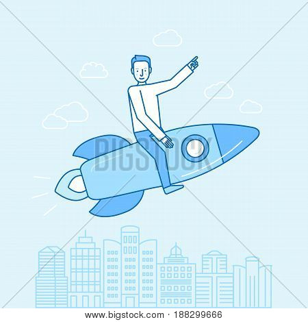 Vector Illustration And Infographic Design In Flat Linear Style - Happy Man Sitting On A Rocket
