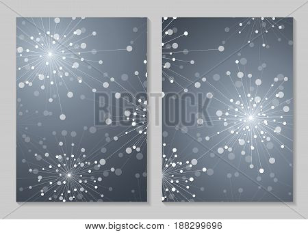 Modern vector templates for brochure cover in A4 size. Abstract geometric background with connected lines and dots in a shape of fireworks.