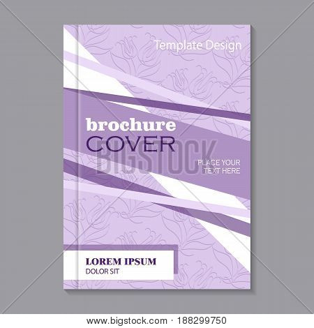 Modern vector template for brochure cover in A4 size. Lilac background with beautiful flowers. White and violet stripes.