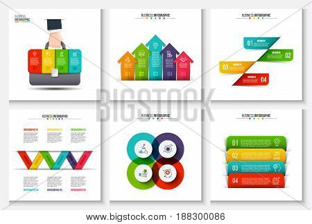 Business data visualization. Abstract elements of graph, diagram with 4, 5 and 6 steps, options, parts or processes. Vector business template for presentation. Creative concept for infographic.
