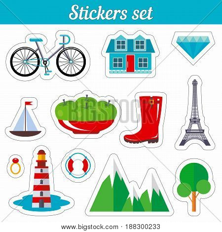 Stickers set. Cartoon patch badges. Vector illustration isolated on white background