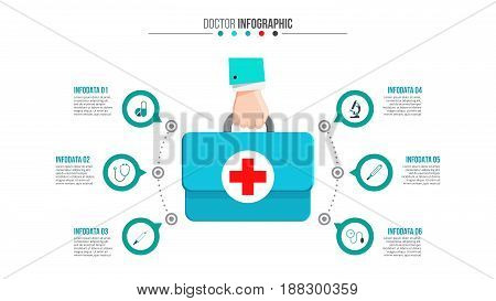 Vector doctor suitcase infographic. Medical and healthcare template for presentation with 6 steps, options, parts or processes.