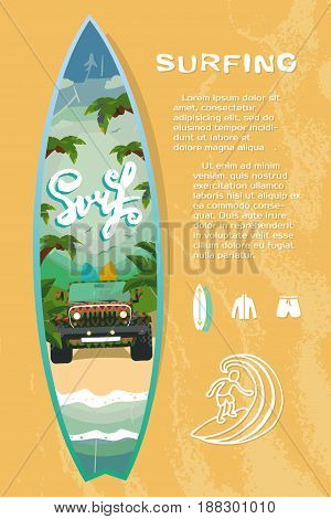 Surf board sale on the beach, vector illustration for your design, EPS10