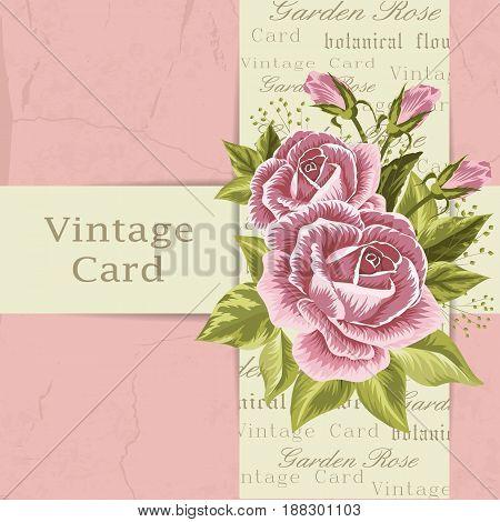 Beautiful flowers for invitation card. Vintage postcard background. Vector illustration.