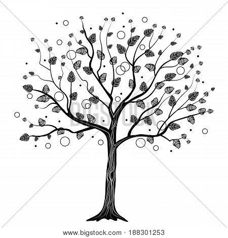 Black tree with circles isolated on white background