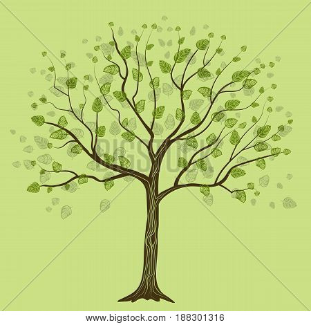 Decorative tree with leaves on green background