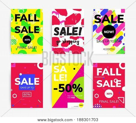 Minimal geometric posters set tamplate in flat scandinavian graphic design style