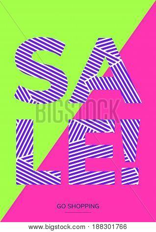Minimal geometric poster tamplate in flat scandinavian graphic design style