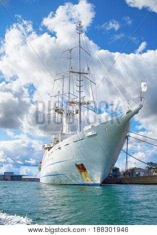 A big sailing ship in the harbour of Copenhagen Danmark. poster