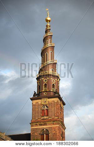 The Spire Of The Church Of Our Saviour In Copenhagen.