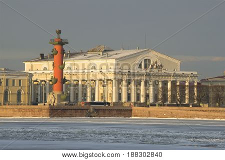 SAINT PETERSBURG, RUSSIA - FEBRUARY 03, 2015: The view of the Exchange building and the South Rostral column. Sunny February morning