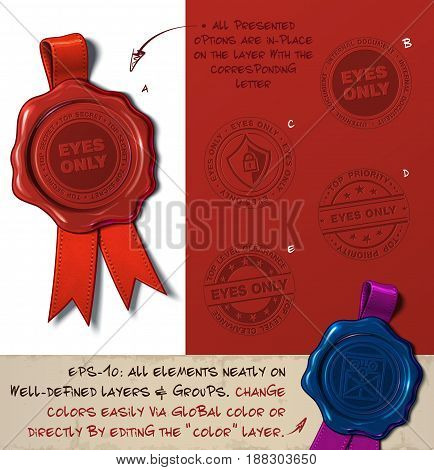 Vector Illustration of a wax seal with a set of stamps regarding Eyes Only subjects. All design elements neatly on well-defined layers and groups