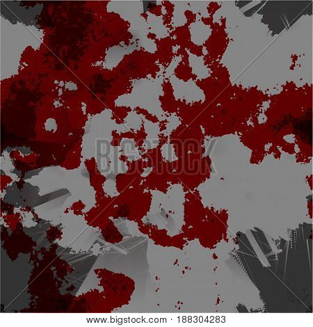 Dark Red And Grey Grunge Scratched Dirty Dusty Old Weather-beaten Background With Bloody Spots. Hall