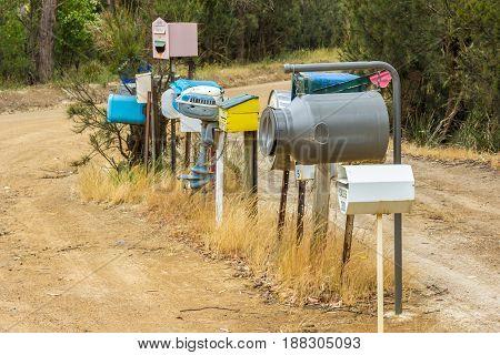 Bruny Island Tasmania Australia - 19 December 2016: amusing country letterboxes in Australia