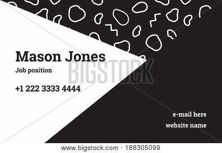 Fashion business card template in the style of Memphis. A perfect combination of geometry and black organic pattern. The linear zig-zags, and circular spots. Funky design.
