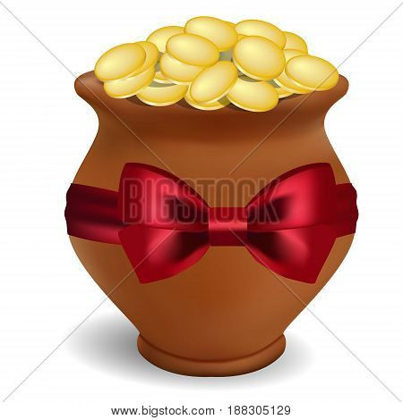 3D Photorealistic Clay Pot On A White Background With A Red Bow Of Satin.clay Pot With Coins. St.pat