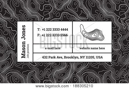 Super fashion design of a business card template. The modern trend, background contour maps and composition information in rectangular blocks. Abstract wavy topographic graphics backdrop.