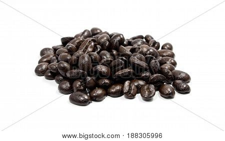 Coffee beans on white background.Soft focus.Coffee beans on white background.Soft focus.