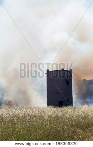 I inflame in field of wheat with tower of vigilance and the smoke with abstract form of face