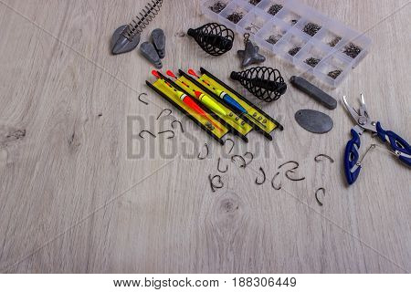 Fishing Tackles On A Table