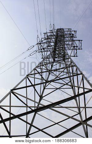 High voltage tower - energu pylon, bottom view