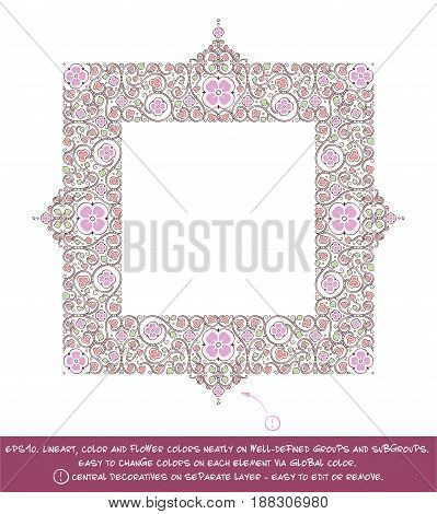 Flower Decorative Ornamental square frame. EPS-10 all elements neatly on well-defined layers and groups. Easy to edit colors via Global Color.